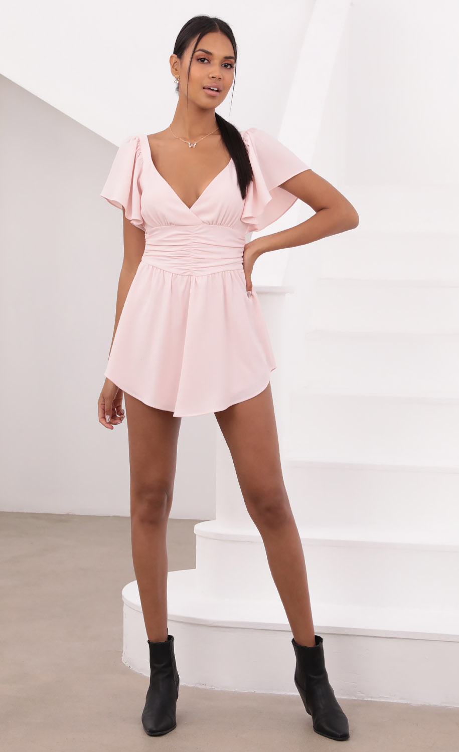 Alexia Flutter Sleeved Dress in Baby Pink