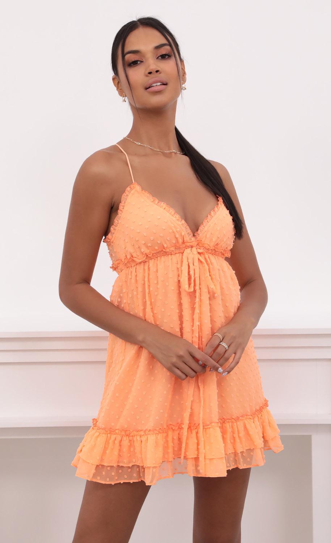 Brenda Tangerine Dress in Dotted Chiffon