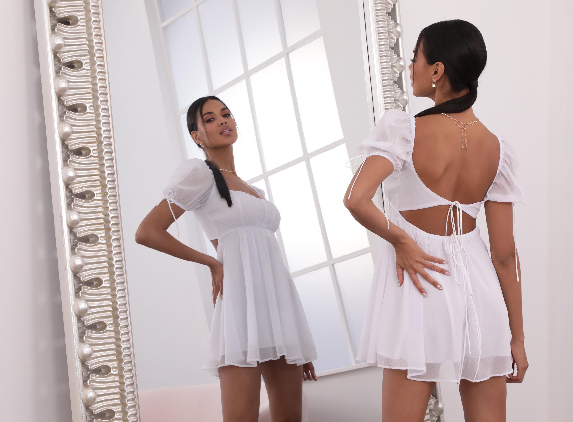 Leilani Crinkle Chiffon Babydoll Dress in White