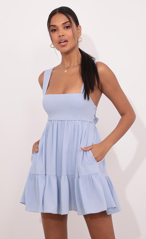 Aurora Square Neckline Dress in Blue Pinstripes