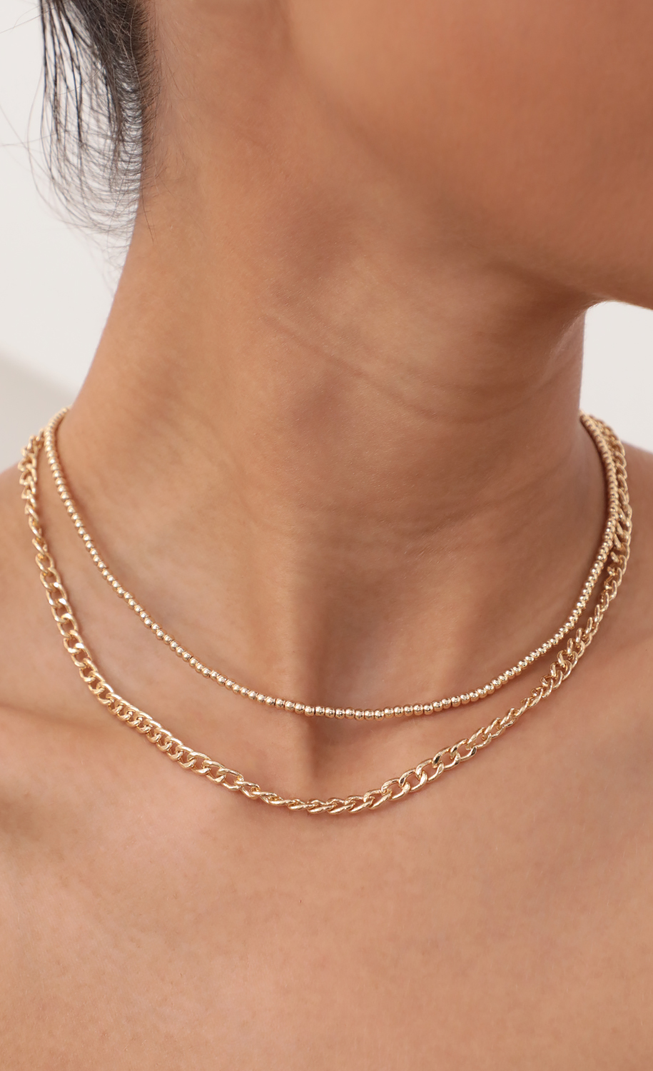 Beads and Chain Gold Necklace Set