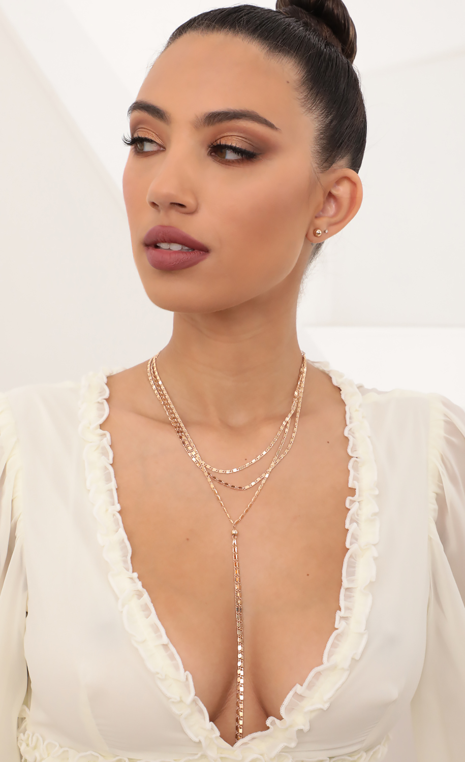 Flat Chain Lariat and Earring Set