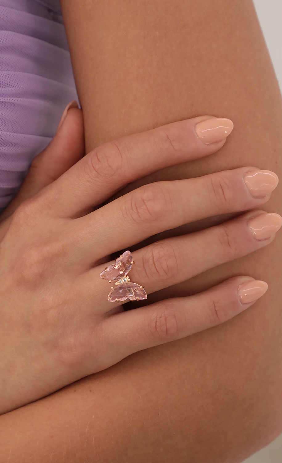 Pink Crystal Butterfly Ring