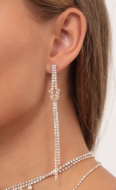 Double Drop Knot Crystal Earrings in Gold