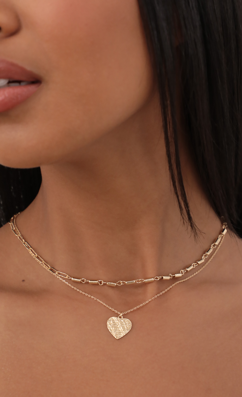 Textured Heart Necklace Set