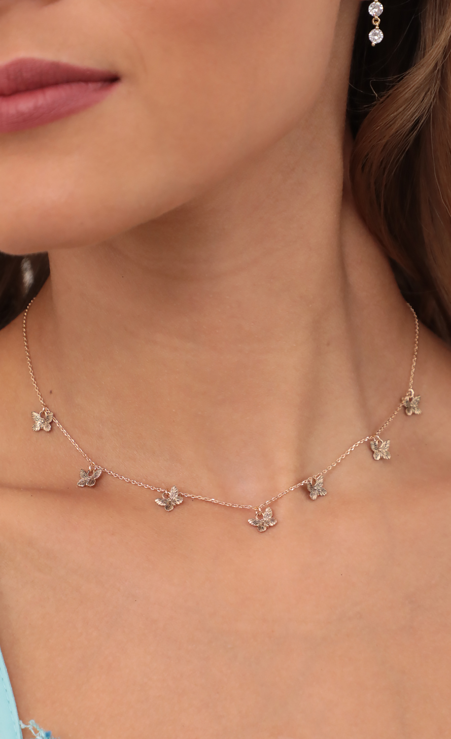 Dangly Butterfly Charms Necklace in Gold