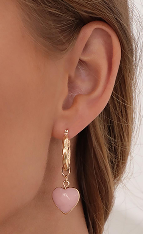 Pink Heart Drop Hoop Earrings