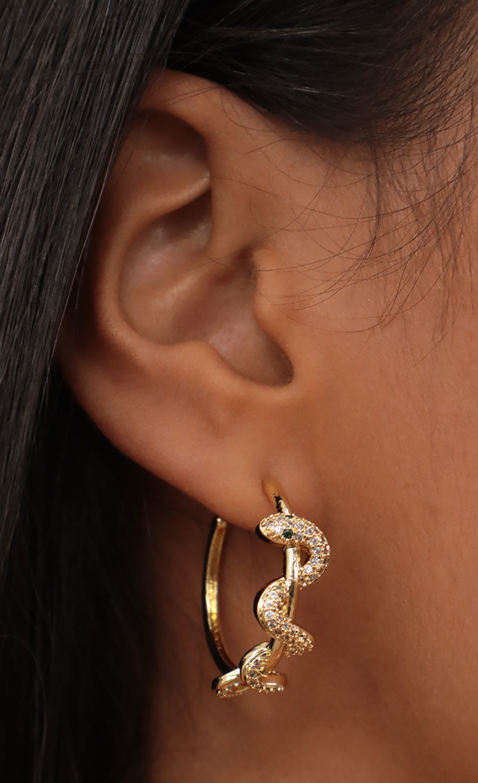 Pave Snake Wrapped Hoop Earrings