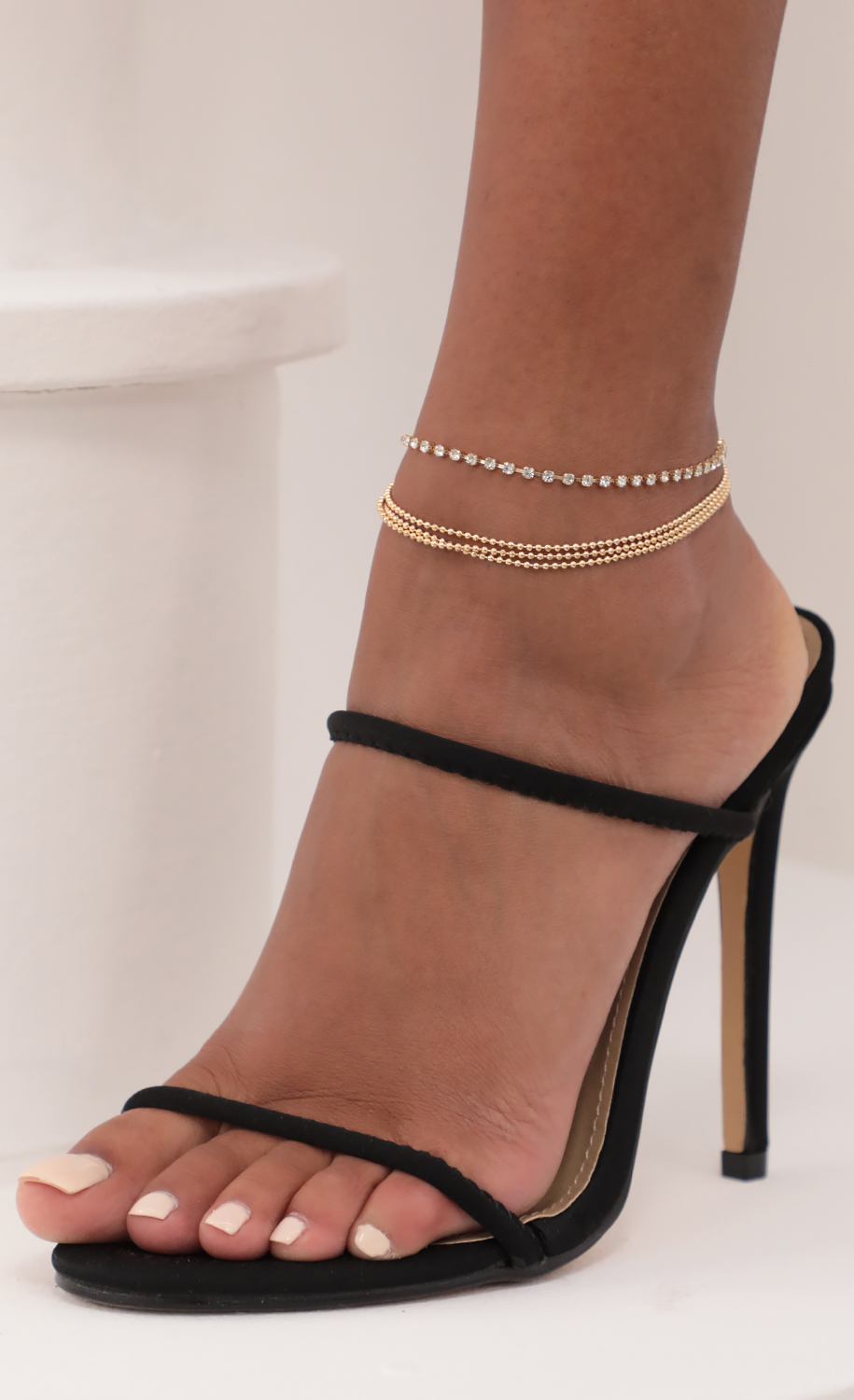 Beads and Crystals Anklet in Gold