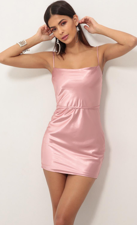 Natasha Bias Slip Dress in Satin Rose