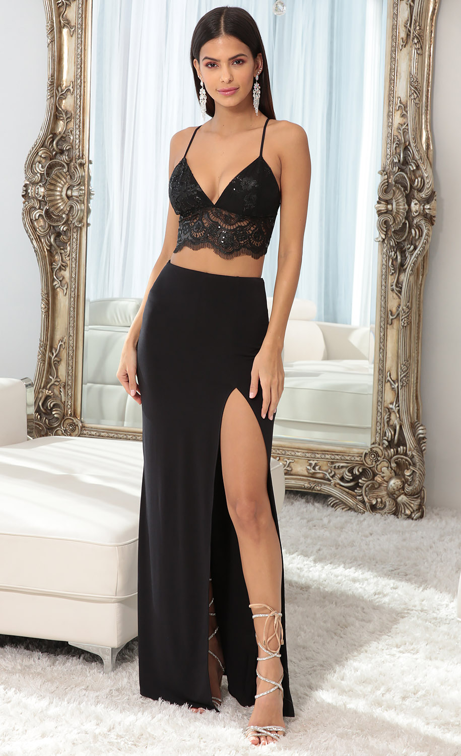 Audrey Lace Maxi Set in Black