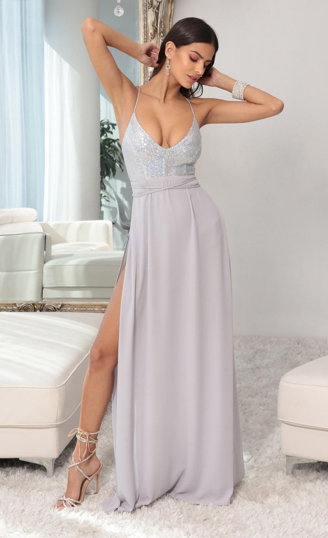 Kaylen Sequin Maxi Dress in Silver