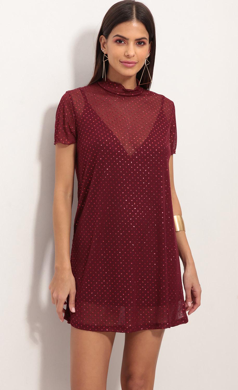 Harper Shimmer Dress in Valiant Poppy