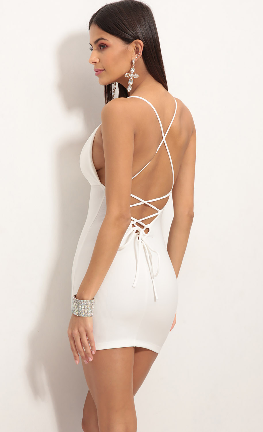 Lace Back Bodycon Dress In White