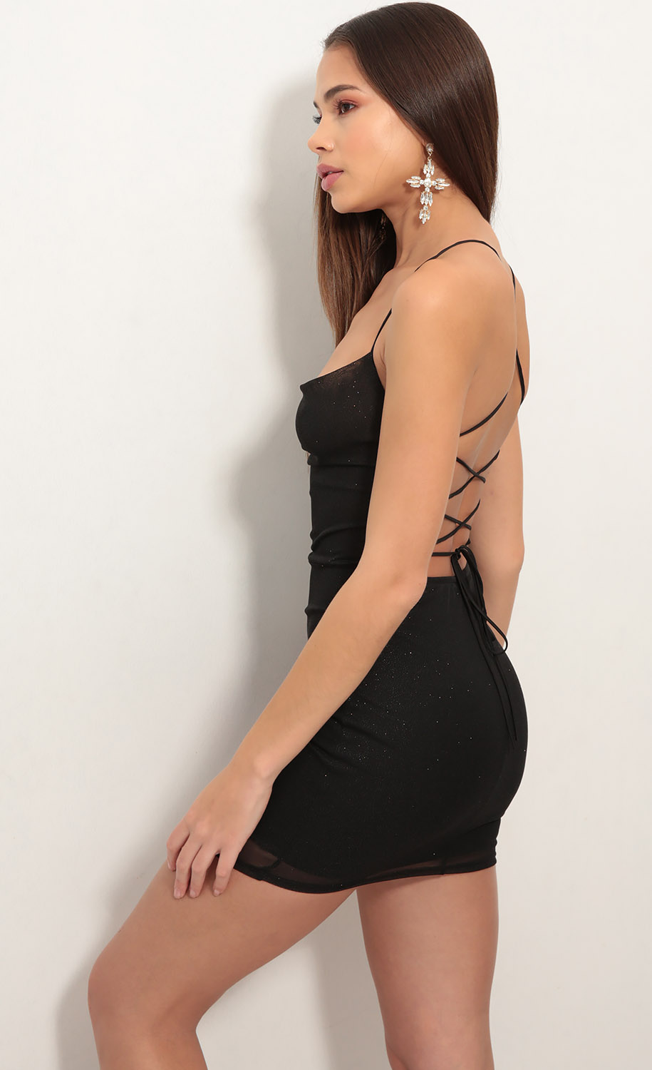 Lace back bodycon dress in sparkling red