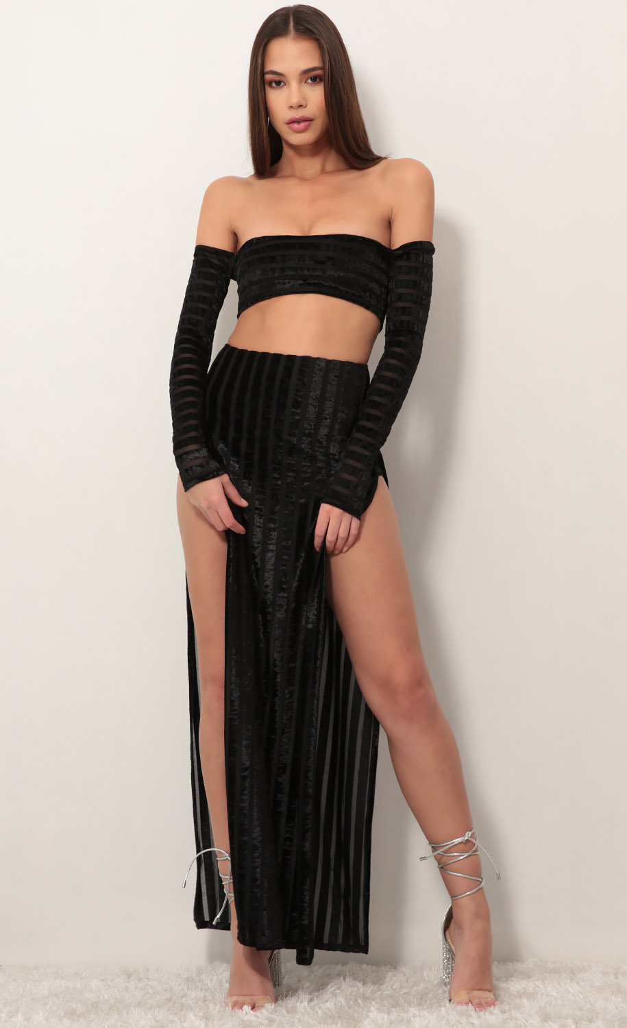 Milan Maxi Set in Black Velvet Stripes
