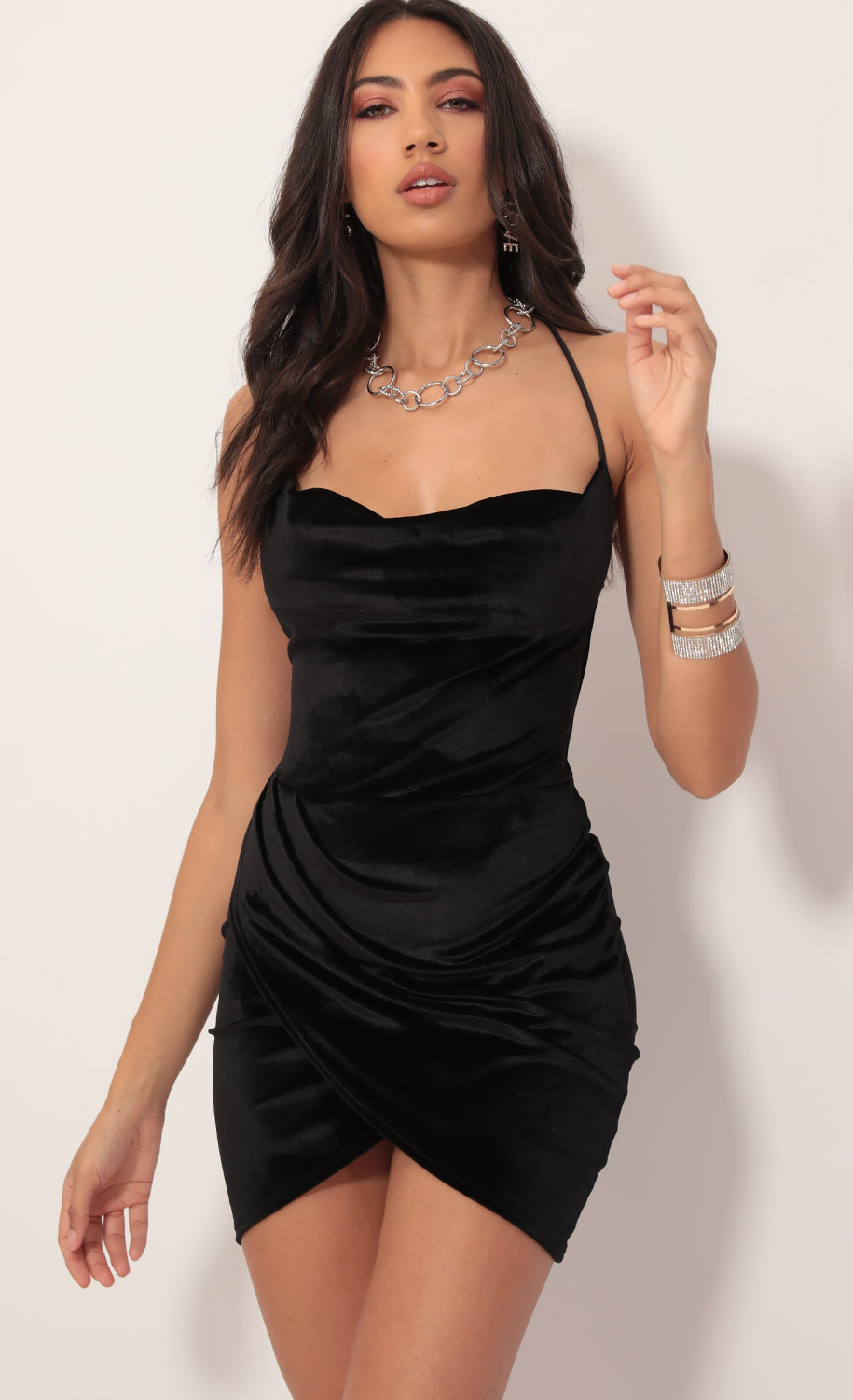 Love Affair Velvet Dress in Black