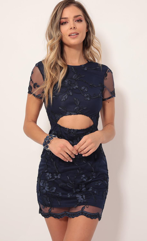 Fleur de Lace Cutout Shift Dress in Navy