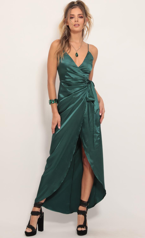 Joelle Pleated Satin Maxi Dress in Hunter Green
