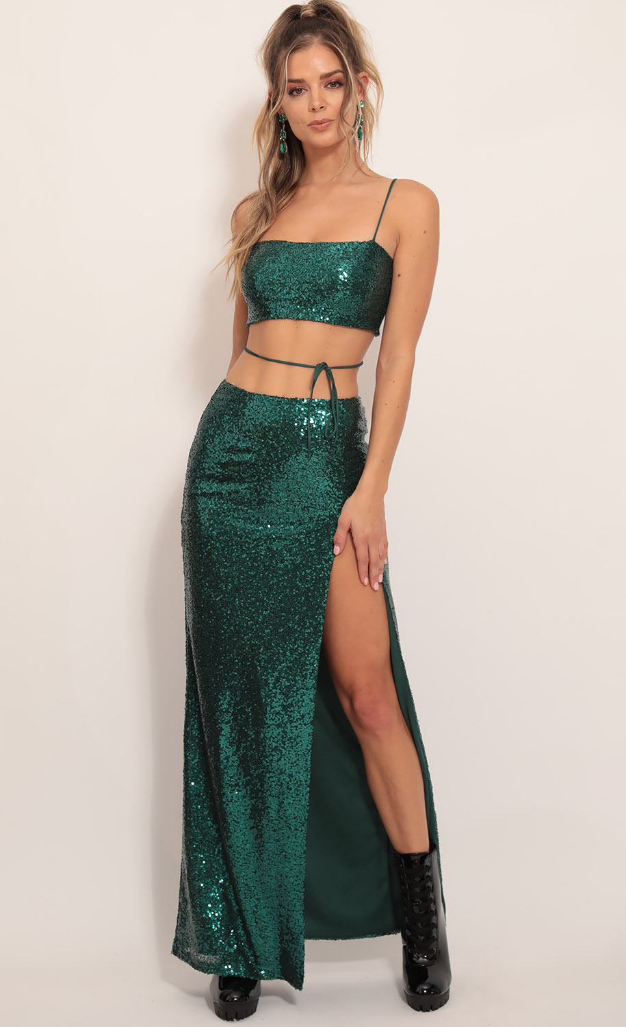 Gala Sequin Maxi Set in Hunter Green