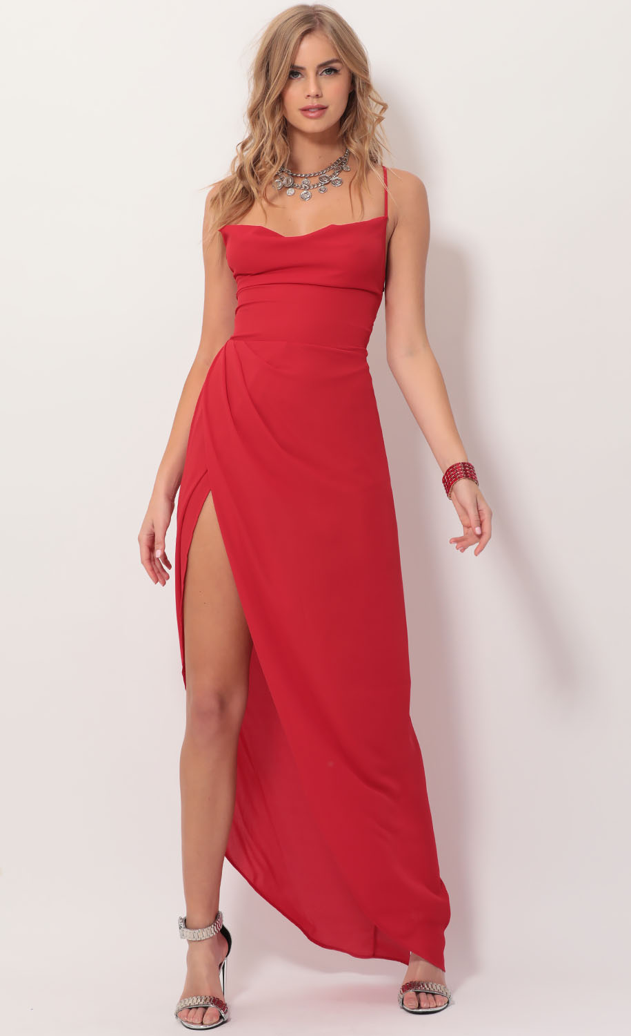 Chiffon Luxe Maxi Dress in Red