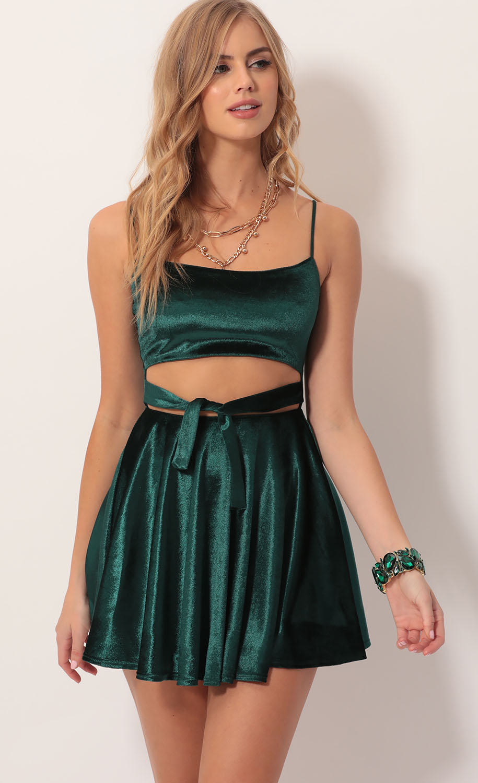 Perrie Velvet A-line Dress in Hunter Green