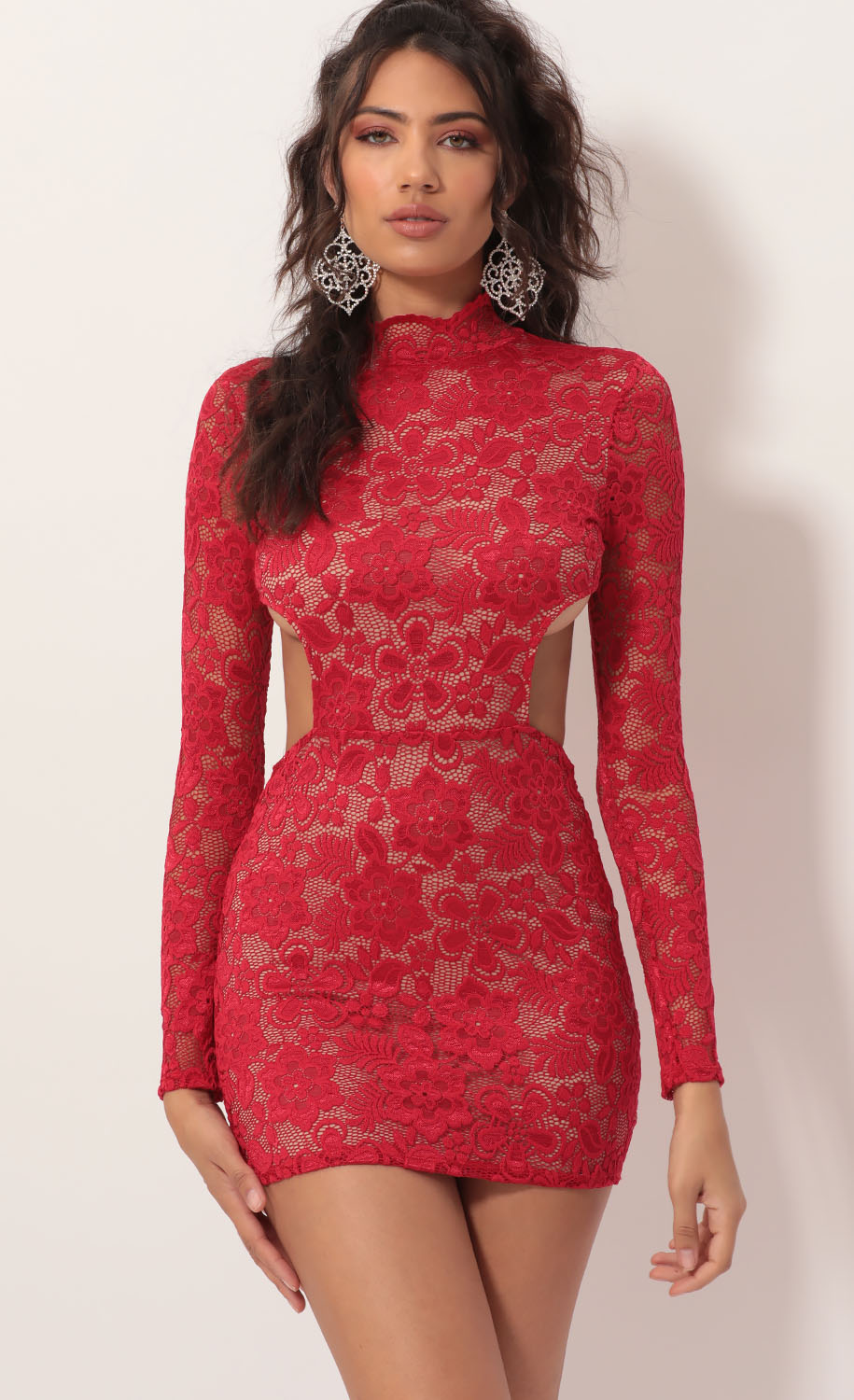 Wild Night Lace Cutout Dress in Red Nude