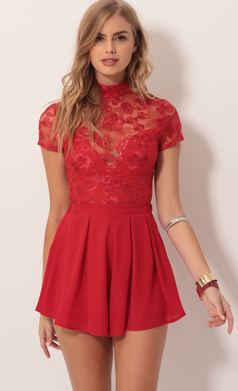 Heiress Floral Lace Romper in Red