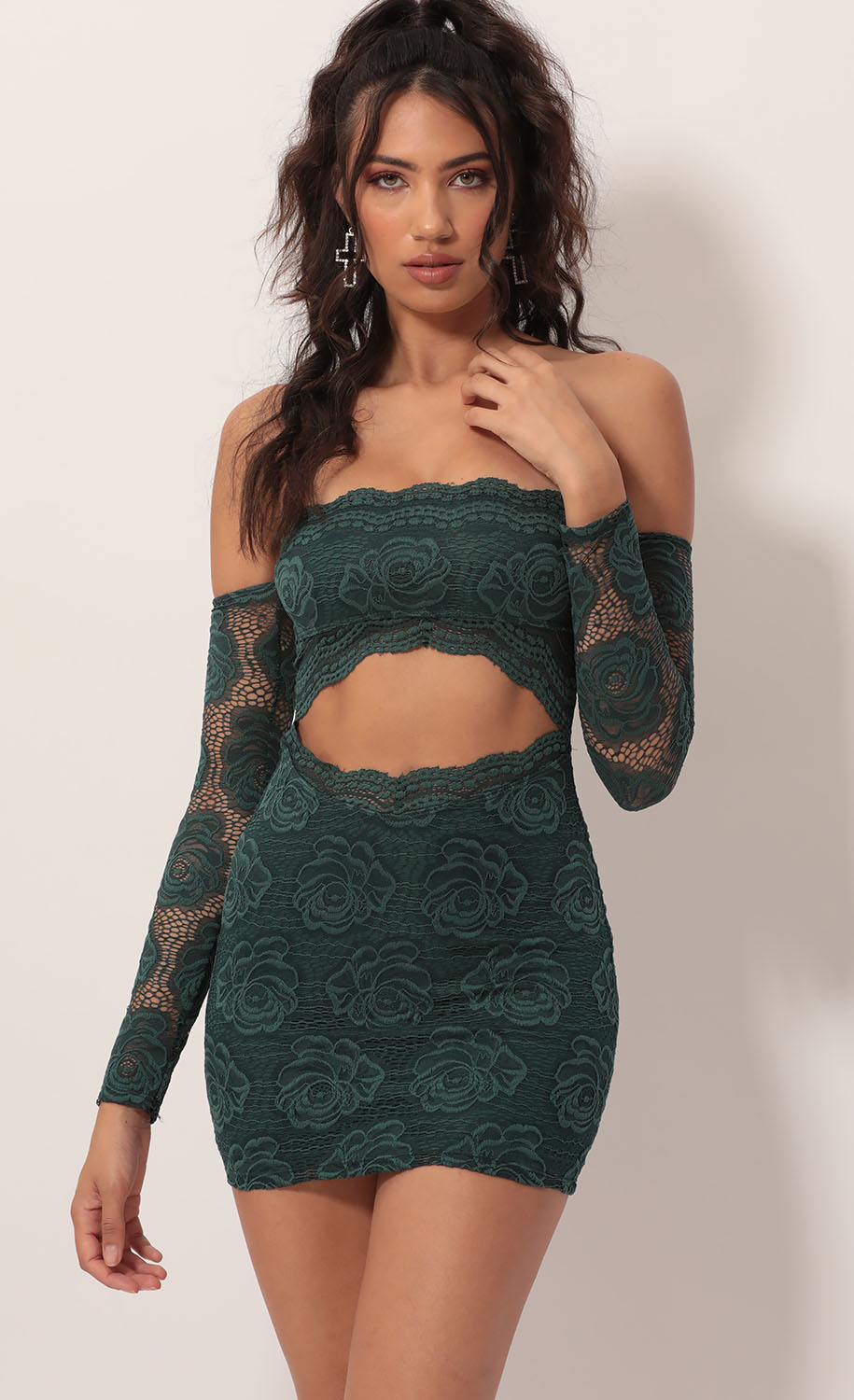 Maybella Strapless Lace Dress in Green