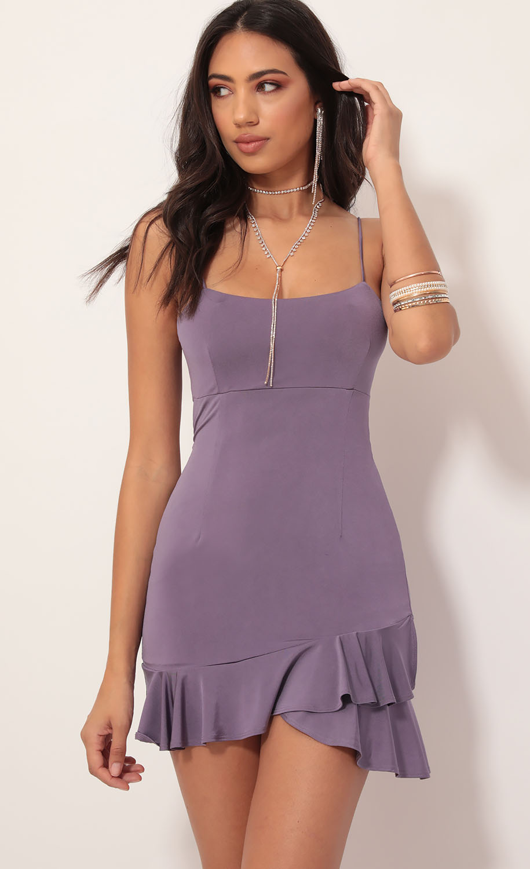Lindy Side Ruffle Dress in Dusty Lavender