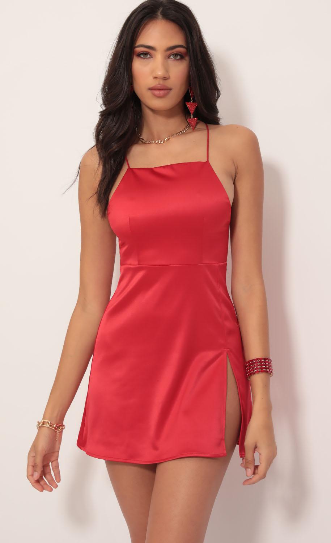L'Amour Satin Halter Slit Dress in Red