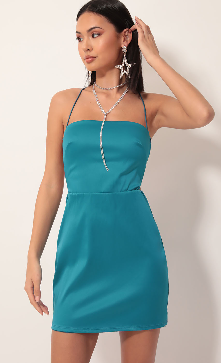 Lulu Satin Lace-up Dress in Teal