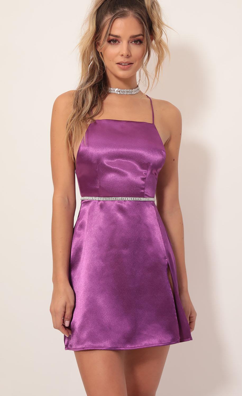 L'Amour Satin Halter Slit Dress in Magenta