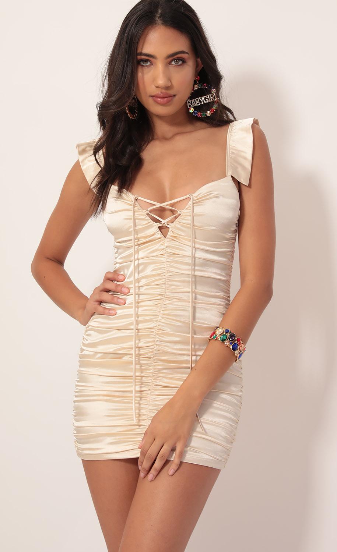 Chantel Satin Ruched Frill Dress in Vanilla