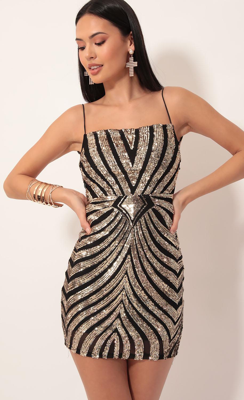 Starstruck Strappy Dress in Black Gold