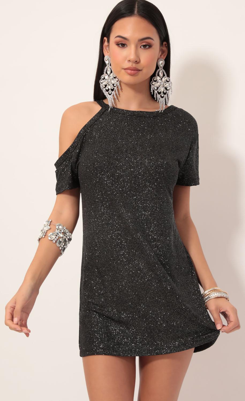 Asher Cutout Shimmer Shift Dress in Black