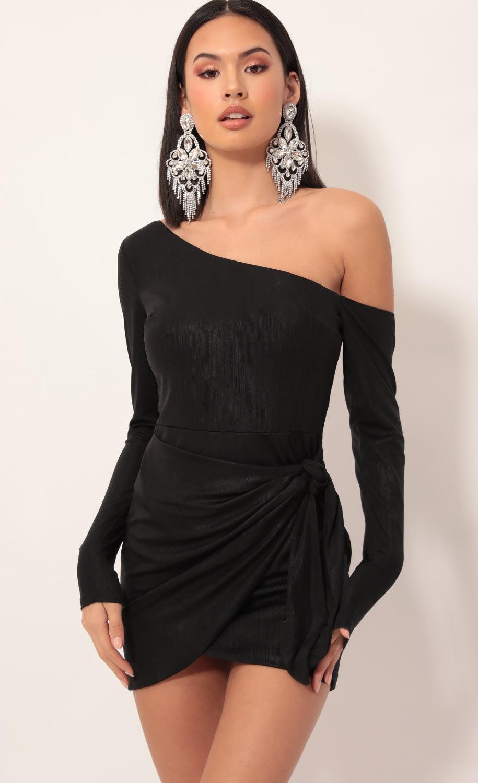 Armani Shoulder Wrap Dress in Shiny Black