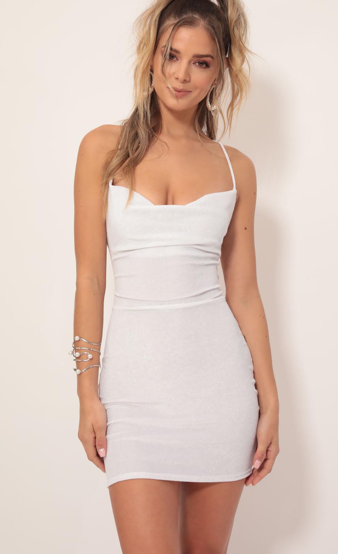 Cowl Neck Velvet Dress in White Shimmer