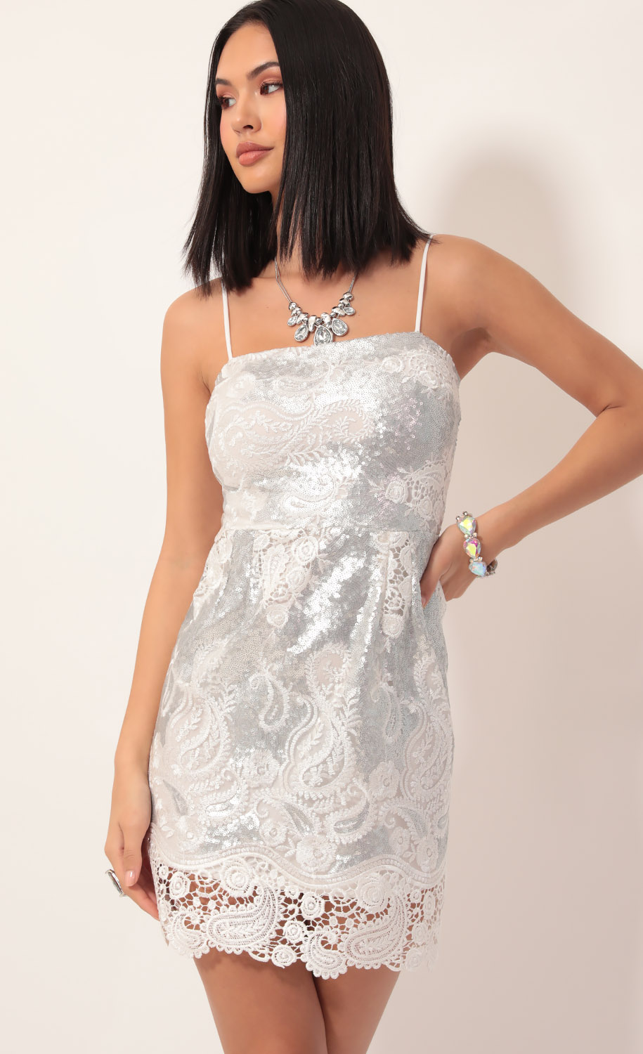 Moira Sequin Lace Dress in White Silver
