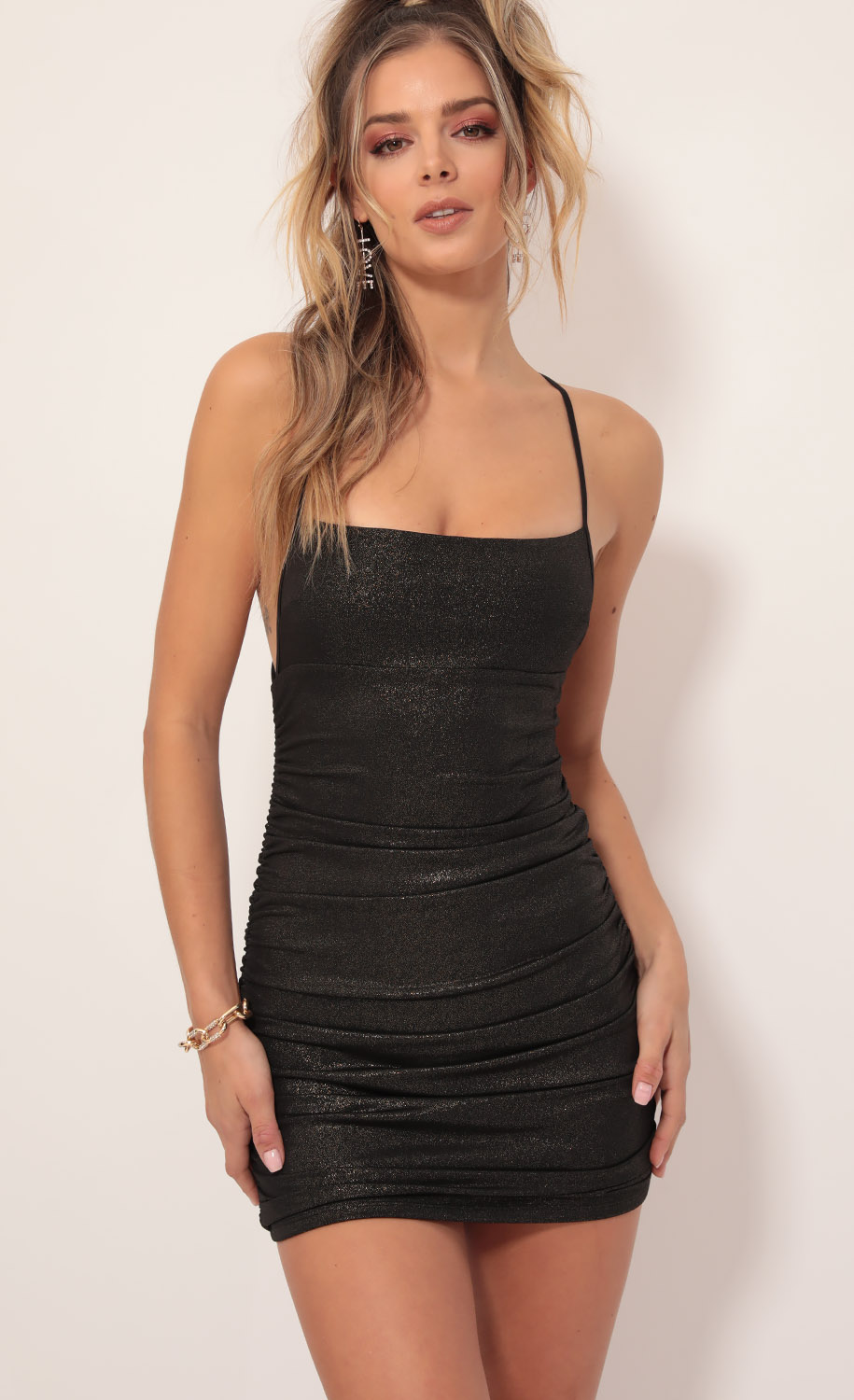 Rhythm Cross Back Shimmer Dress in Black Gold