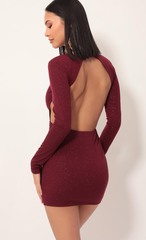 Sparkling Burgundy Open Back Dress