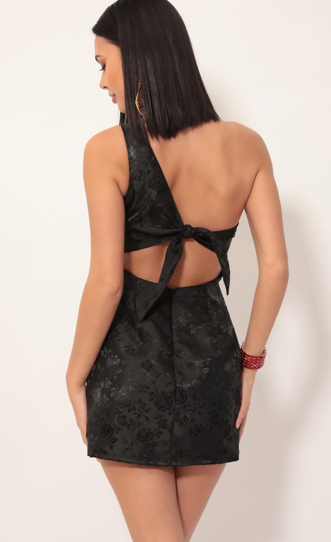 Liana Satin Jacquard Shoulder Dress in Black