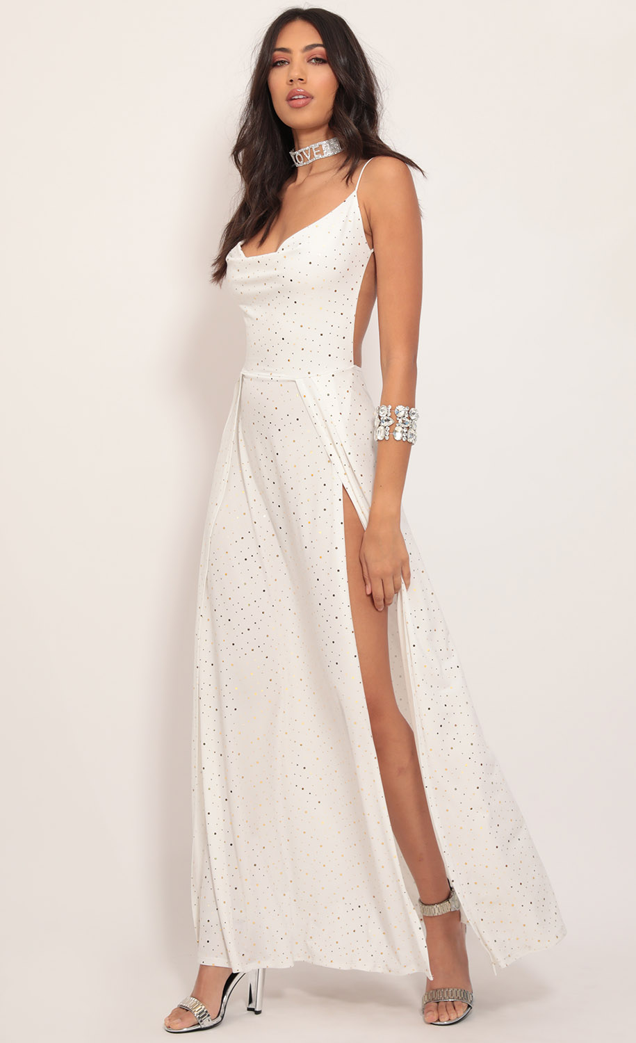 Dion Twinkling Maxi Dress in Ivory Gold