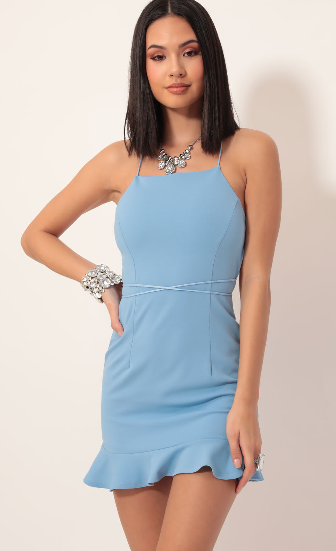 Gabby Halter Ruffle Dress in Pastel Blue