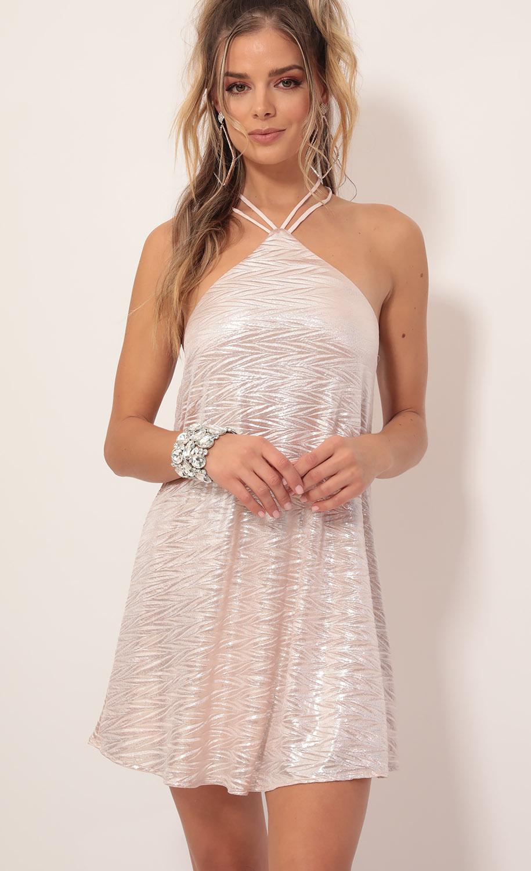 Maya Shimmer Halter Dress in Pink