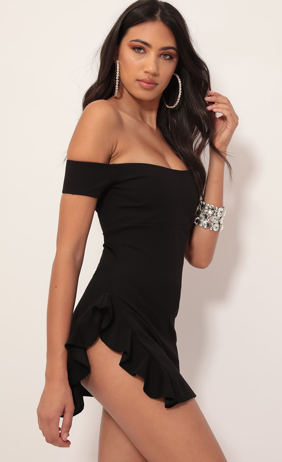 Ana Off Shoulder Frill Dress in Black