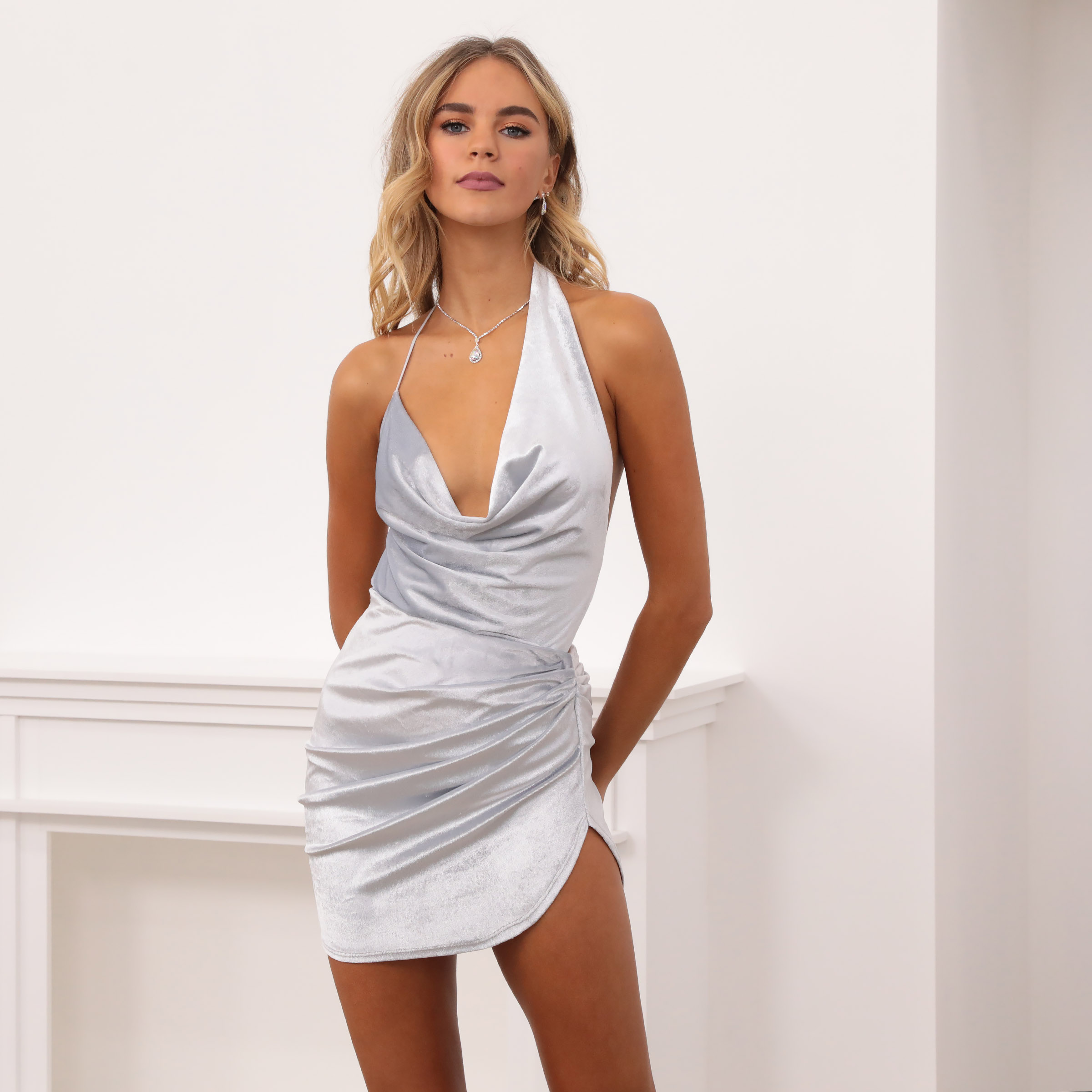 Daisy Drape Dress in Silver Velvet