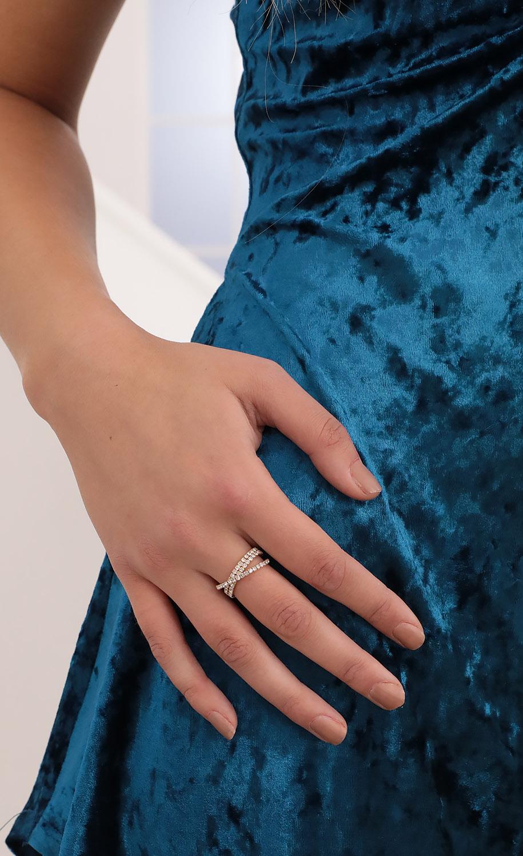 Criss Cross Crystal Adjustable Ring