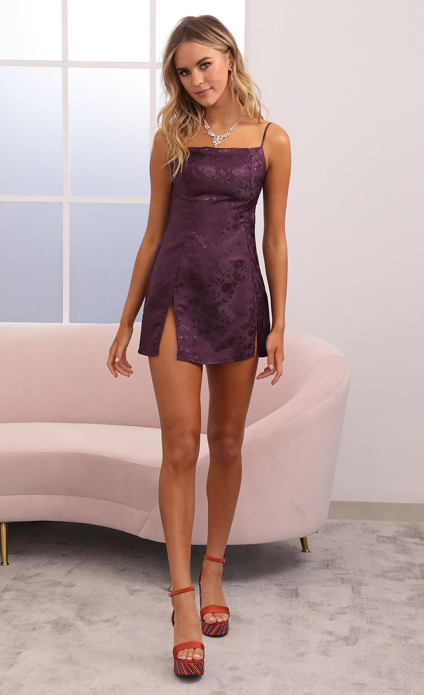 Shelby Slit Dress in Plum Jacquard