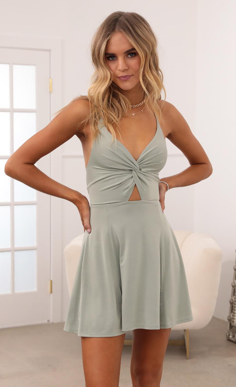 Adalee Front Twist Dress in Sage